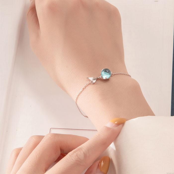 Pulsera romántica de plata original para mujer Pulsera de cola de pez de cuentas azules