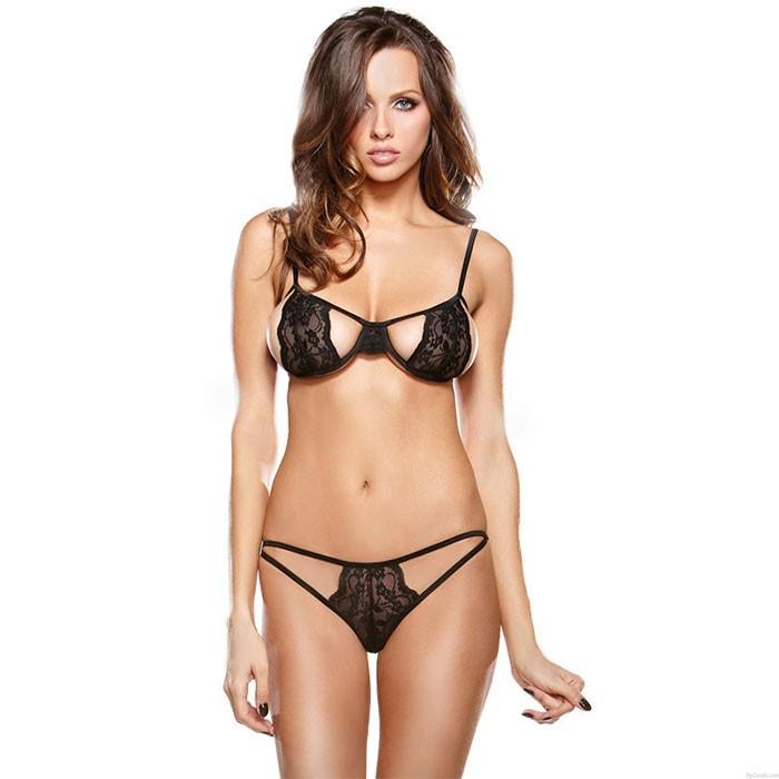 Conjunto de sujetador de encaje negro sexy Sling Intimate Lenceria mujer