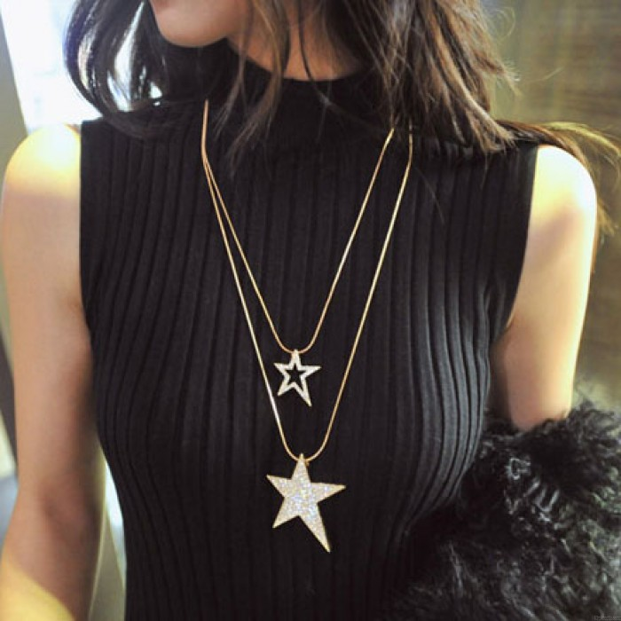 Collar largo de cadena de suéter de diamantes de imitación de estrellas dobles