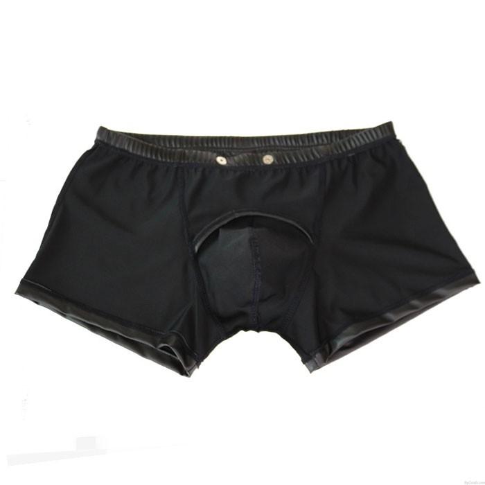 Hombre de cuero negro sexy Night Club Shorts Bragas Ropa interior con forma de pene Lencería masculina