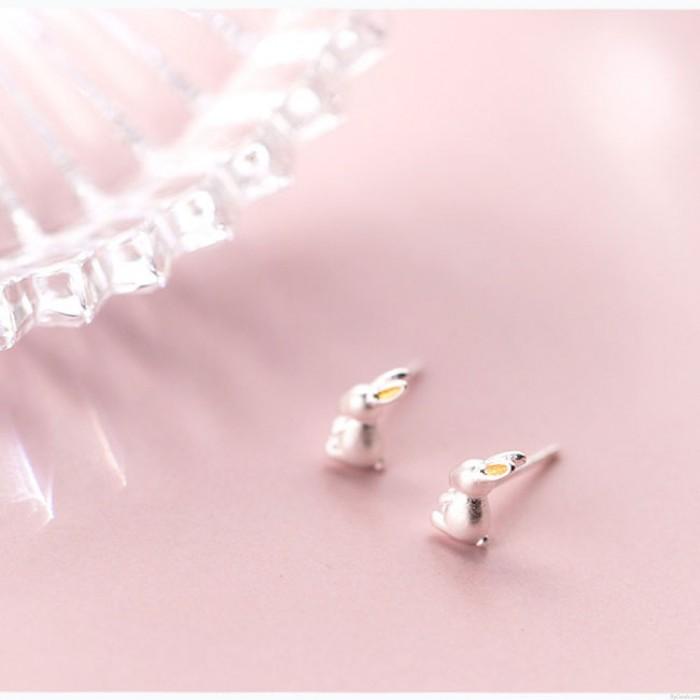 Lindo conejo de plata pendiente de los pernos prisioneros de la joyería para los pendientes del conejito animal de la muchacha