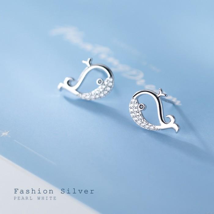 Pendientes de diamantes huecos de ballena minúscula encantadora Pez Animal Plata Pendientes tachuelas