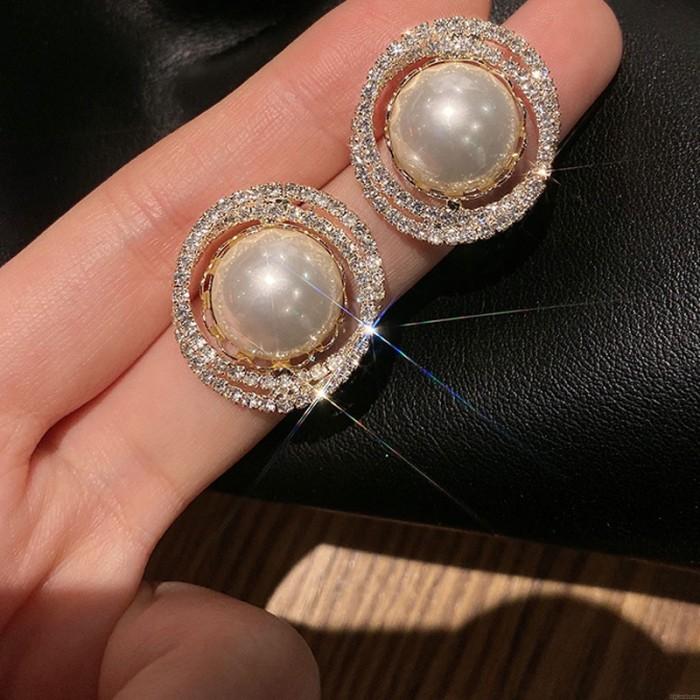Pendientes redondos de calidad AAA de cristal de perlas de moda para mujer Pendientes brillantes