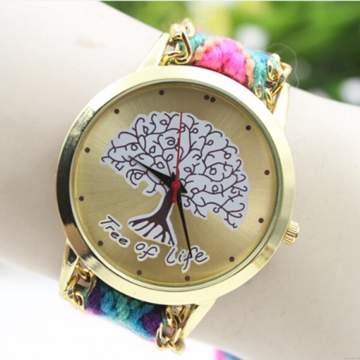 Estilo folclórico fresco Árbol de la vida Colorido reloj de lana doblado a mano