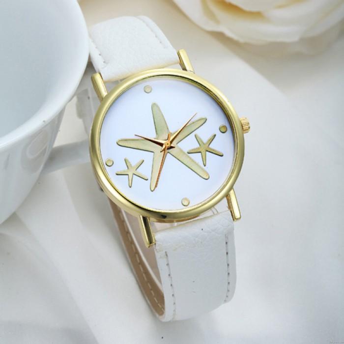 Bonito reloj elegante de PU de estrellas de mar de metal