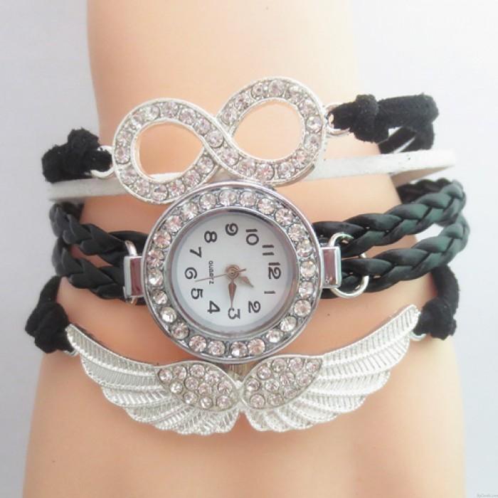 Reloj pulsera original con alas de ángel y diamantes de imitación