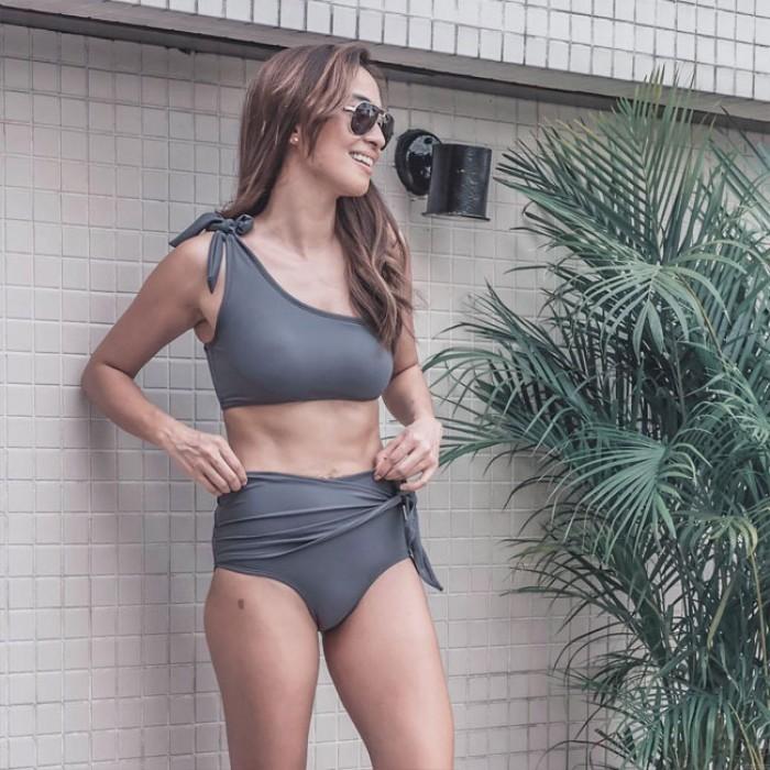 Bikinis de cintura alta sexy traje de baño de verano vendaje irregular bikini