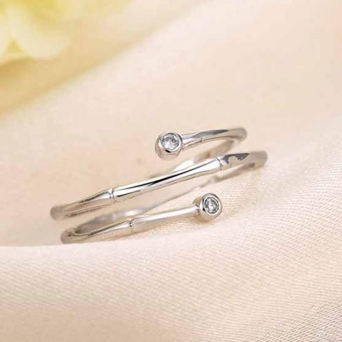 Bambú Embutido Circón Elegante Ajustable Plata Apertura Espiral anillo