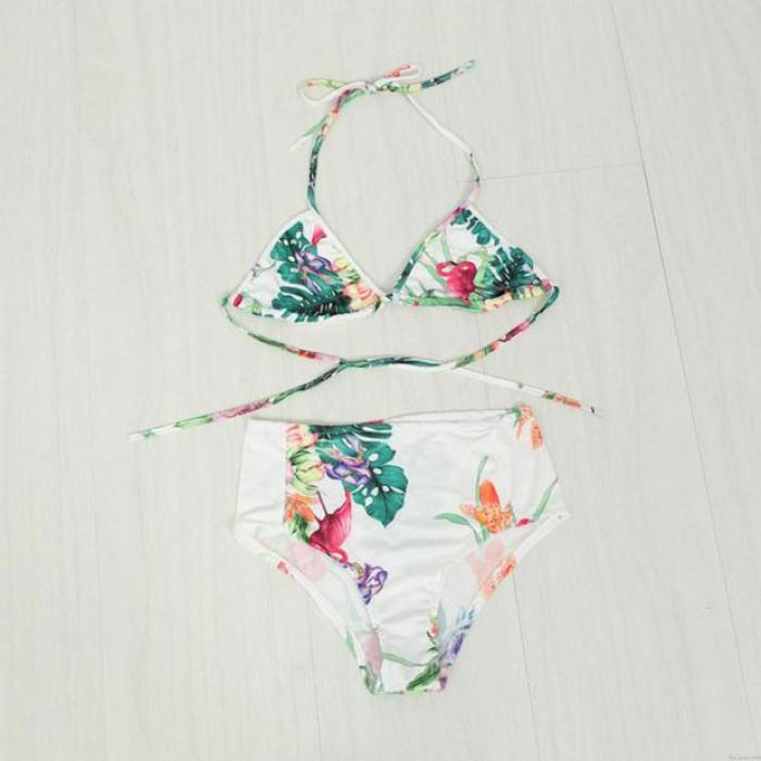 Conjunto de bikini de flores y hojas traje de baño de playa traje de baño traje de baño