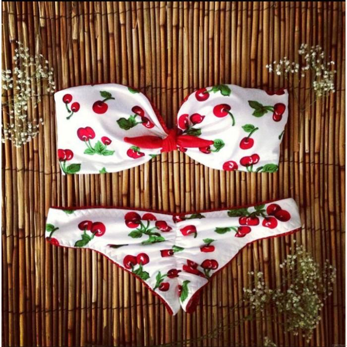 Traje de baño de cereza Traje de baño conjunto de bikini