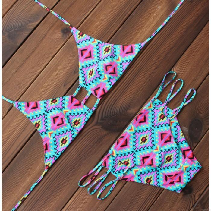 Azteca Impresión Sexy Bikinis Establecer el traje de baño de playa traje de baño de estilo popular