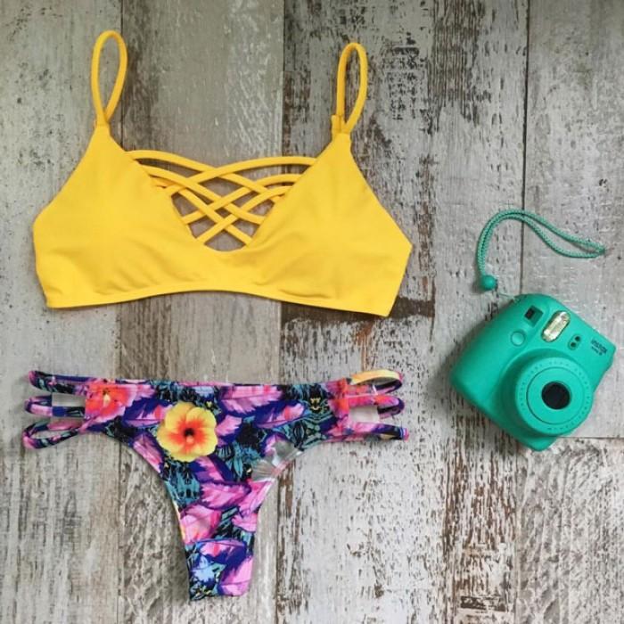 Conjunto de bikini sexy traje de baño de playa traje de baño traje de baño floral