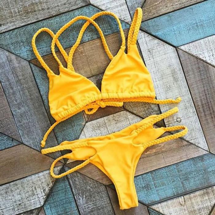 Traje de baño atractivo de la trenza del bikiní del amarillo del limón Traje de baño de la playa del traje de baño de la playa