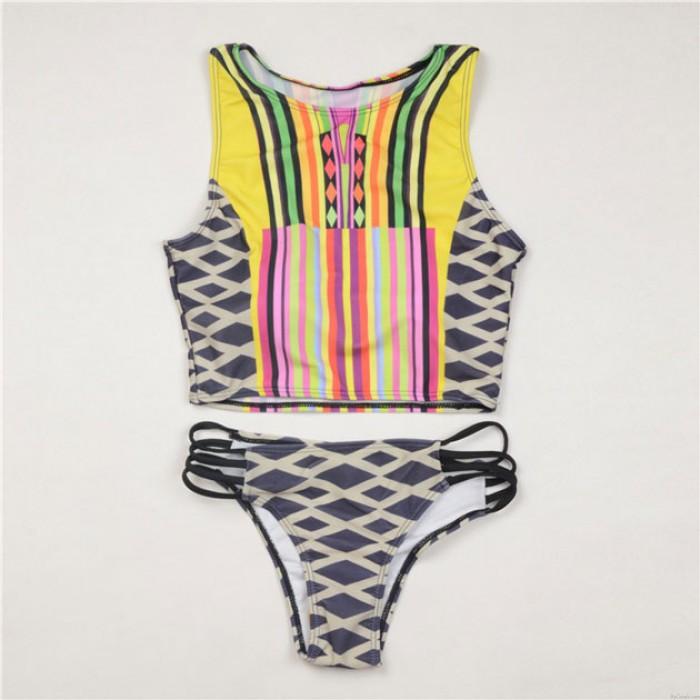 Traje de baño dividido estilo chaleco Bikini con estampado geométrico de rayas a cuadros