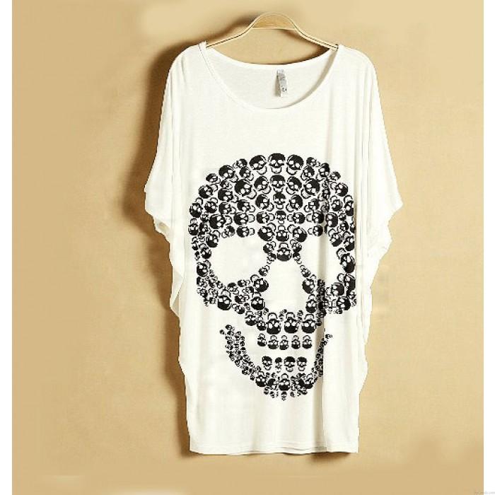 Punk Skull Printed Short-sleeved T-shirt