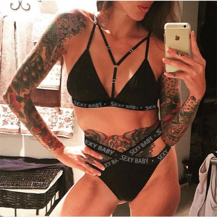 Sexy Sexy Bebé Carta Bikini Honda Negro Sostén Conjunto Lencería íntima de las mujeres