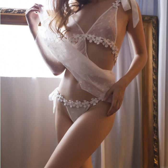 Sexy camisón de flores Perspectiva Encaje Hueco Transparente Sin respaldo Mujeres Lencería íntima
