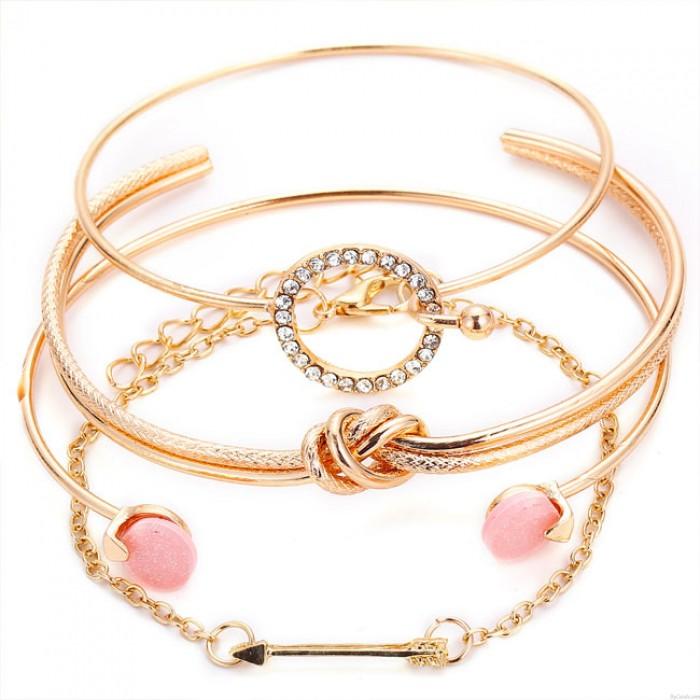 Pulsera abierta de cuatro piezas linda personalidad simple círculo anudado círculo flecha de diamante