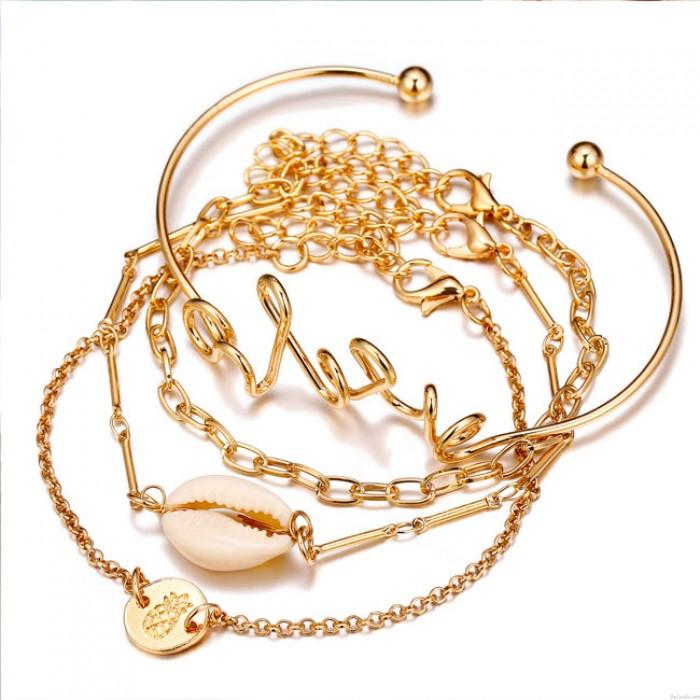 Creativa nueva cadena de concha de piña pulsera abierta de cuatro piezas para mujer