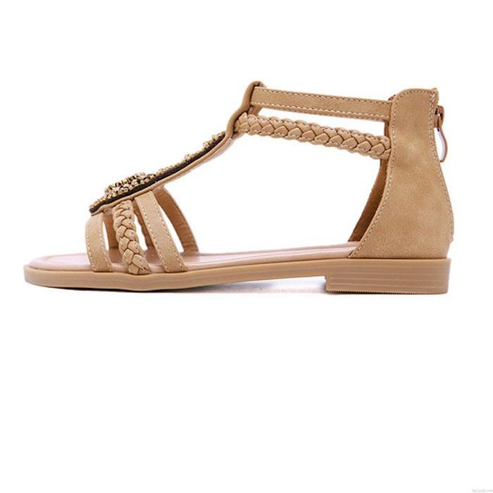Vintage Bohemia con cuentas con cremallera Rhinestone Verano Pisos Zapatos de mujer Sandalias romanas