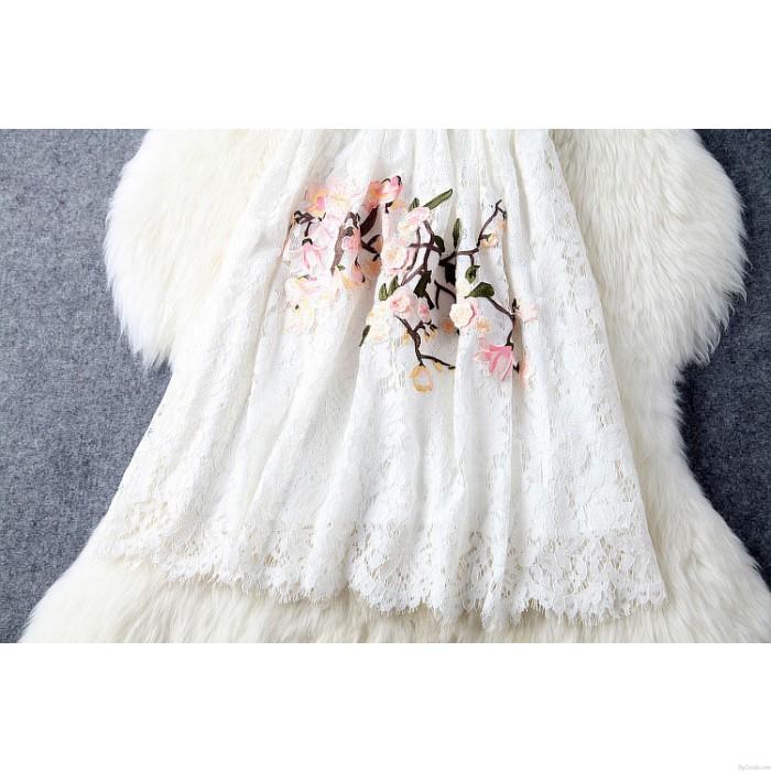 Vestido de fiesta de encaje bordado con cuello de cisne hecho a mano único