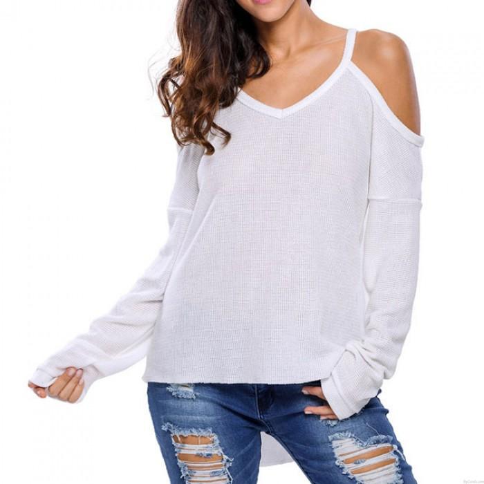 Moda con cuello en V todo el color sin tirantes más larga en el suéter trasero sexy