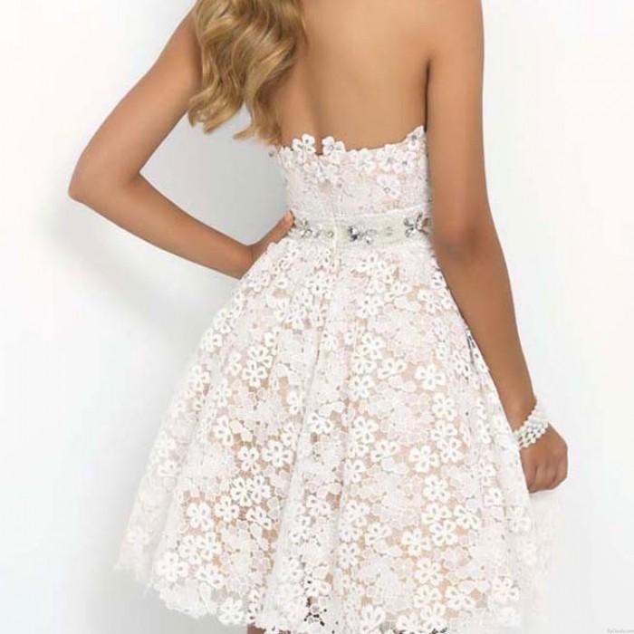 Vestido corto sin tirantes del partido del baile de fin de curso de la flor elegante de una línea de las mujeres