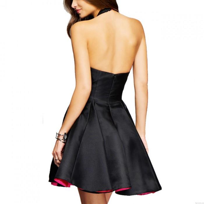 Vestido de falda del partido del halter negro del cordón empalmado del v-cuello de las mujeres atractivas