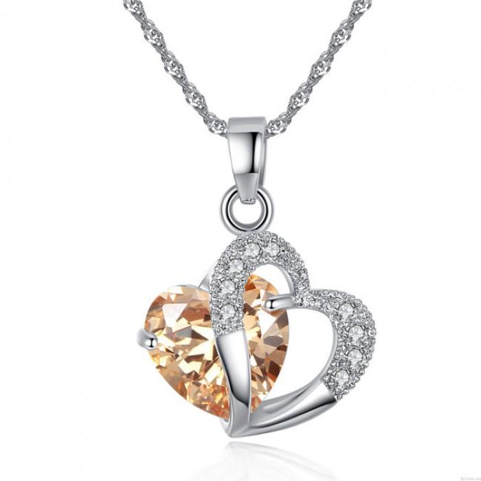 Romántico Amor Circón Corazón Cristal Colgante De las mujeres Collar