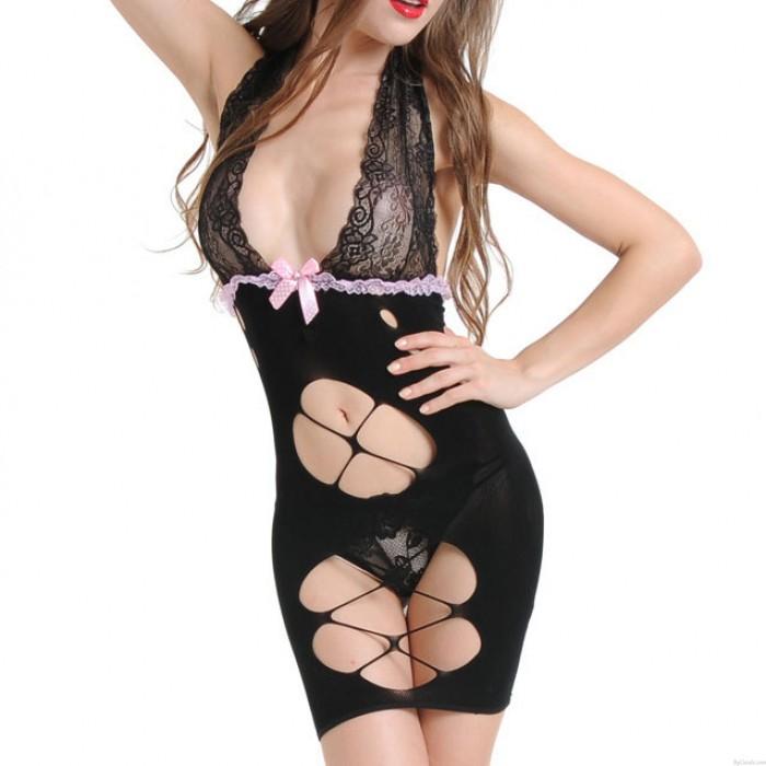 Sexy encaje ahuecado profundo con cuello en V Bowless apoyos Vestido de mujeres malla Ver a través de la ropa interior