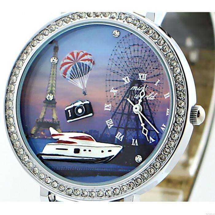 Yacht Eiffel Tower Ferris Wheel Rhinestone Trim Watch