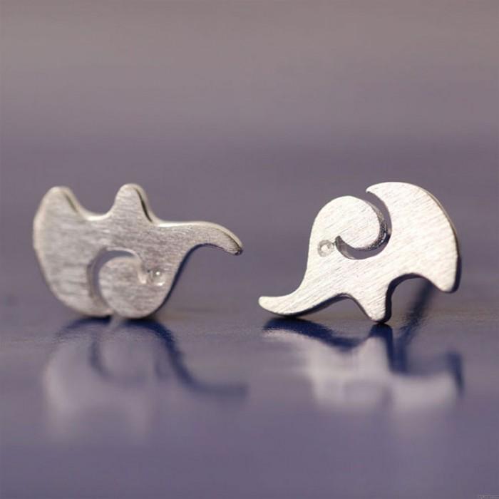 Encantador Creativo Elefante Plata Animal Arete Studs