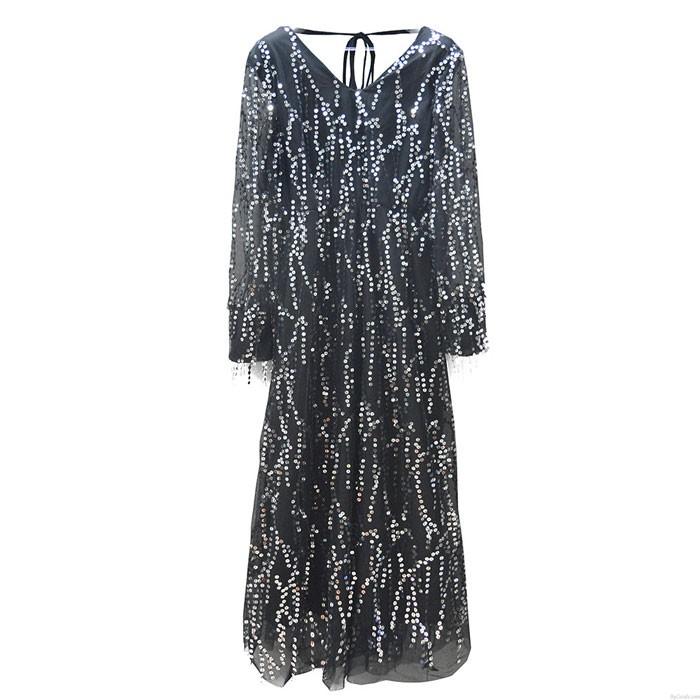 Vestido de fiesta de lentejuelas con borlas de manga larga con cuello en V negro sexy de moda