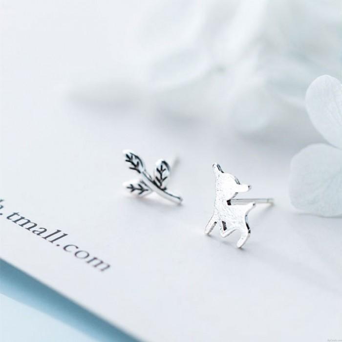 Pendientes de animales de hoja asimétrica de alce lindo joyería de plata