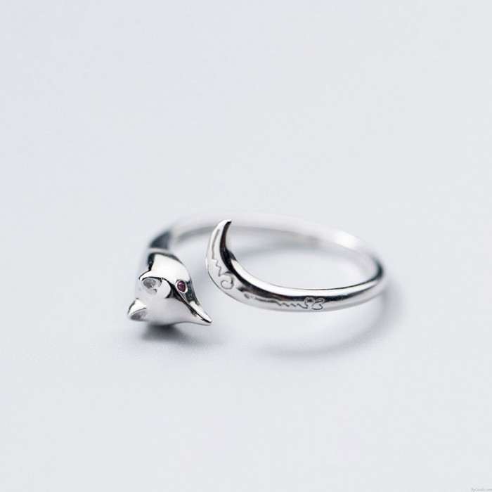 Precioso patrón de cola de zorro tallado anillo abierto de plata anillos de joyería animal