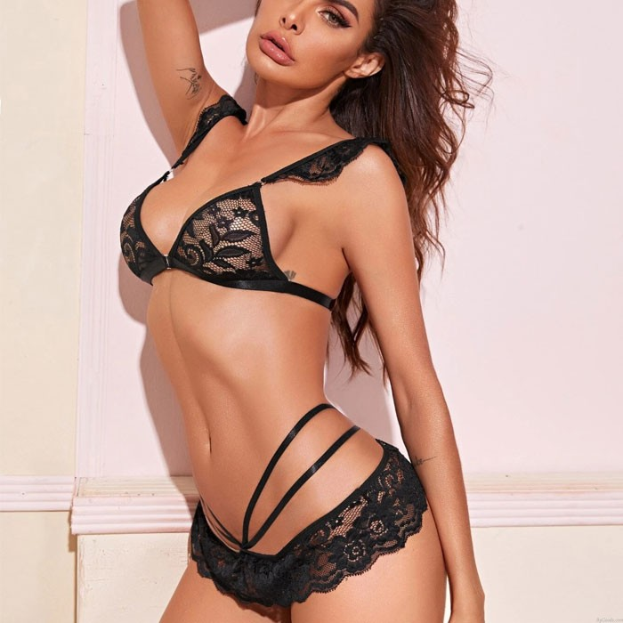 Conjunto de sujetador de encaje de hojas huecas de encaje negro sexy Lencería de mujer