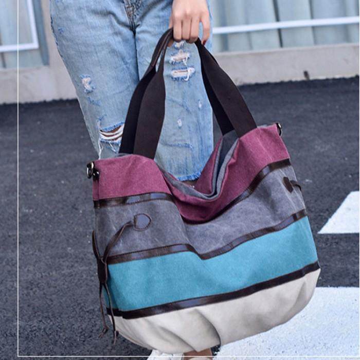 Bolso grande colorido del bolso de las compras de la lona de la raya del arco iris del ocio