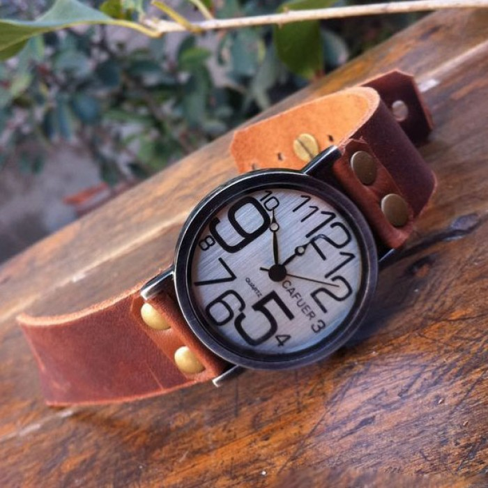 Retro Irregular Digital Funny Leather Watch
