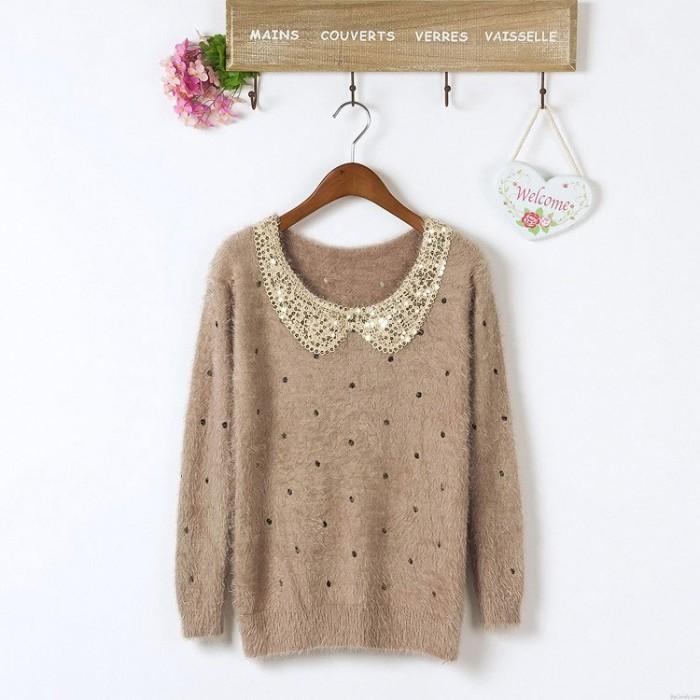 Sweet Sequined Velvet  Long-Sleeve Sweater&Cardigan