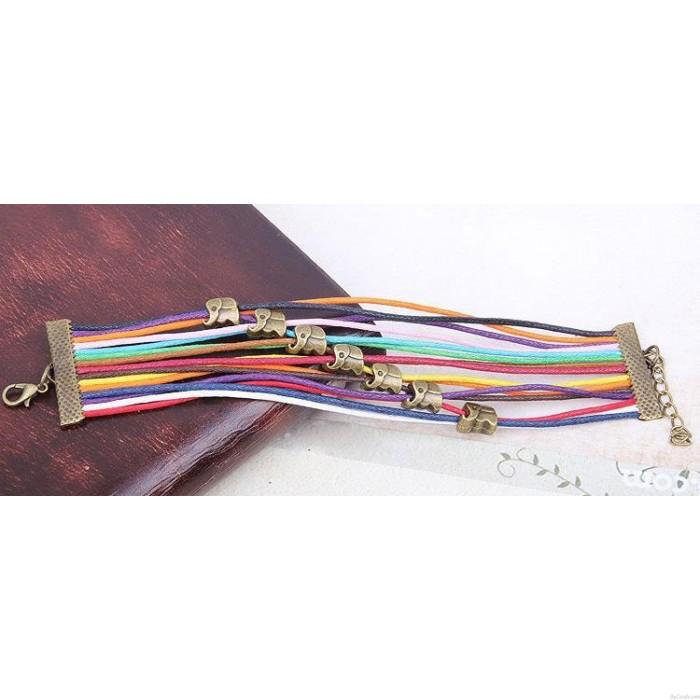 Cute Elephant Colorful Rope Bracelet