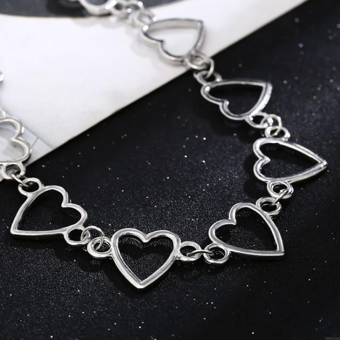 Moda simple amor en forma de corazón cadena hueca personalidad mujeres collar