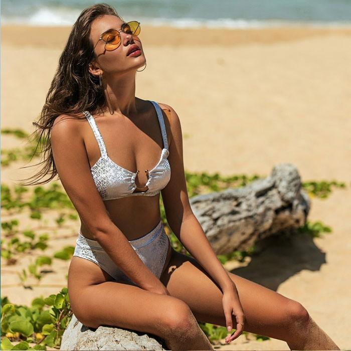Sexy leopardo irregular U anillo patrón de piel de serpiente mujeres traje de baño de verano Bikinis
