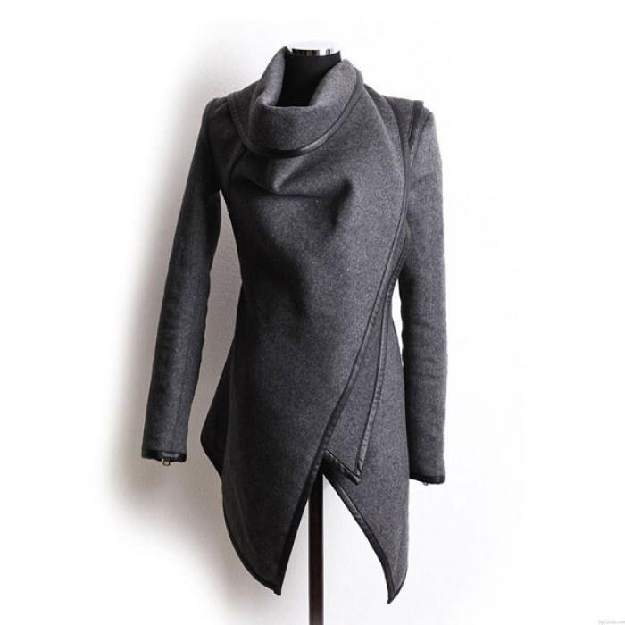 Chaqueta cortaviento de abrigo de lana irregular delgada única