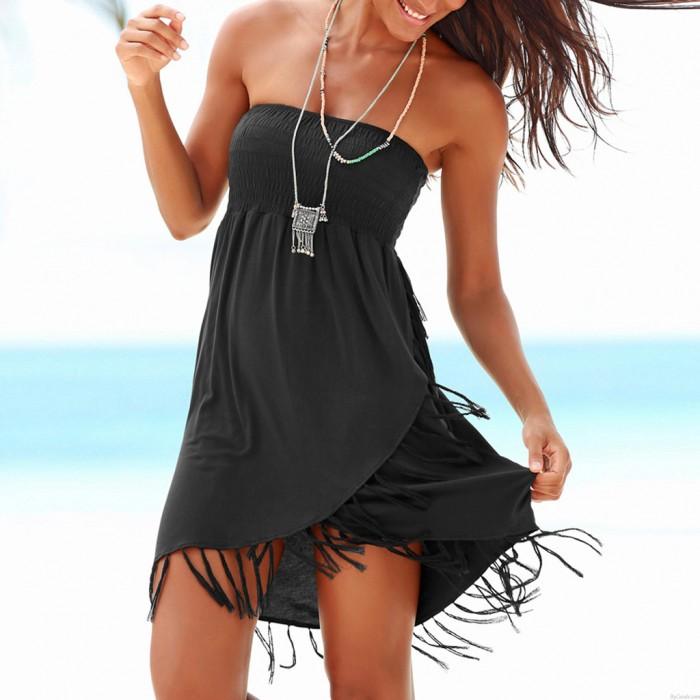 Robe de plage d'été sans bretelles avec pompon tricoté à la mode