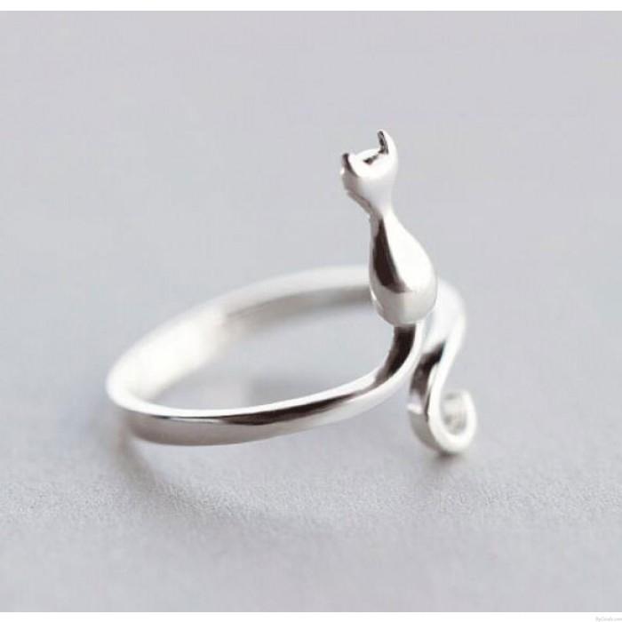 Regalos lindos de la joyería del dedo de los amantes del gatito para el animal del cumpleaños Anillo de compromiso Gato plateado Anillos de compromiso con punta abierta