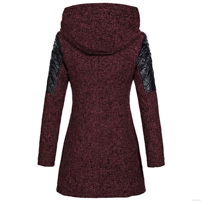 Moda Otoño Invierno abrigo para mujer empalme cremallera oblicua con capucha gabardina de lana abrigo largo para mujer