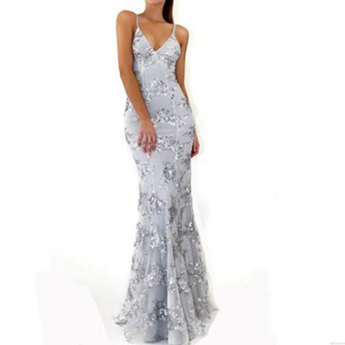Vestido de fiesta de lentejuelas sexy con cuello en V profundo Vestido de fiesta elegante de lentejuelas con cuello en V
