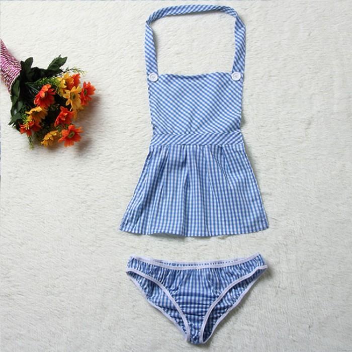 Delantal azul sexy enrejado Mucama cosplay íntimo mujeres lencería