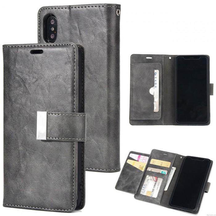 Funda de cuero retro para teléfono móvil de tres pliegues Embrague bolsa Crack Iphone Monedero