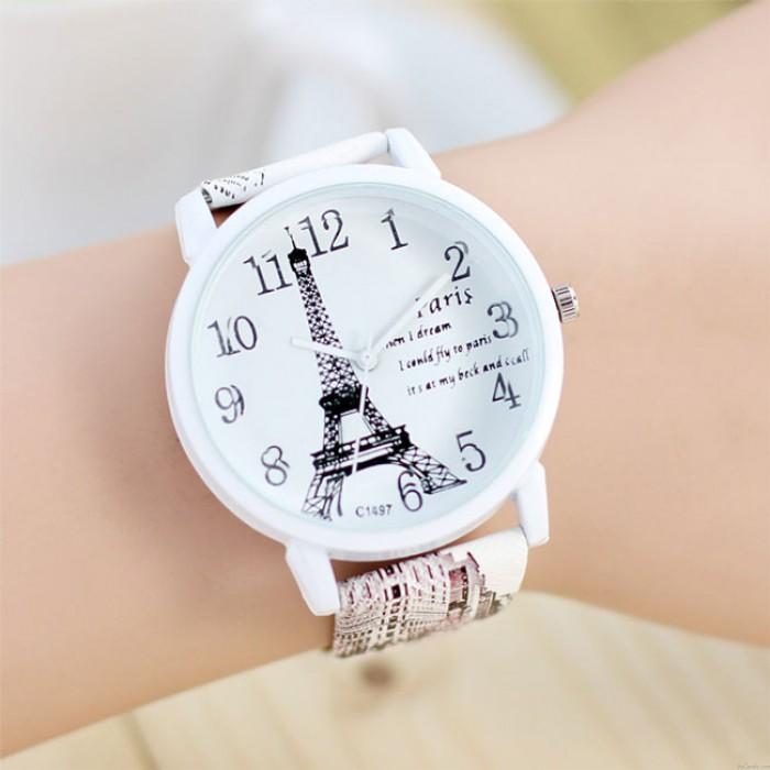 Dulce París Torre Eiffel reloj de cuarzo Ladies Ladies Casual Relojes